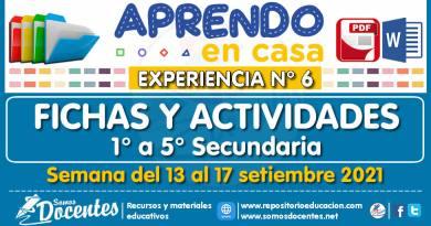 FICHAS Y ACTIVIDADES DE APRENDIZAJE (1° a 5° SECUNDARIA – Por áreas) – Semana del 13 al 17 de setiembre del 2021 [Experiencia de Aprendizaje N° 6]