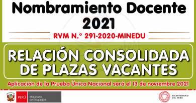 Nombramiento Docente 2021: RELACIÓN CONSOLIDADA DE PLAZAS VACANTES [Publicado el 21/10/2021]