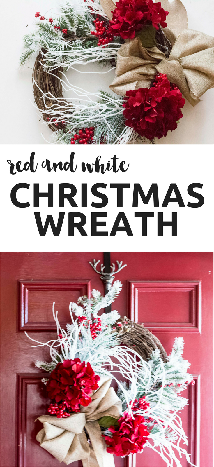 Try this Red and White Christmas wreath tutorial