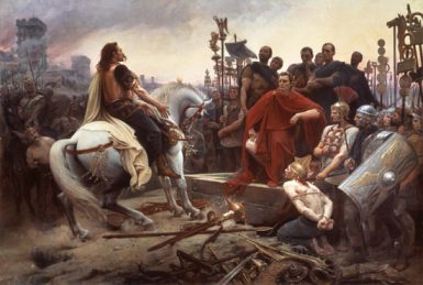 Vercingétorix arroja sus armas a los pies de Julio César por Lionel-Noël Royer, 1899.