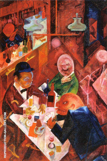 Cafe 1916 By George Grosz  Oil Paintings  Art