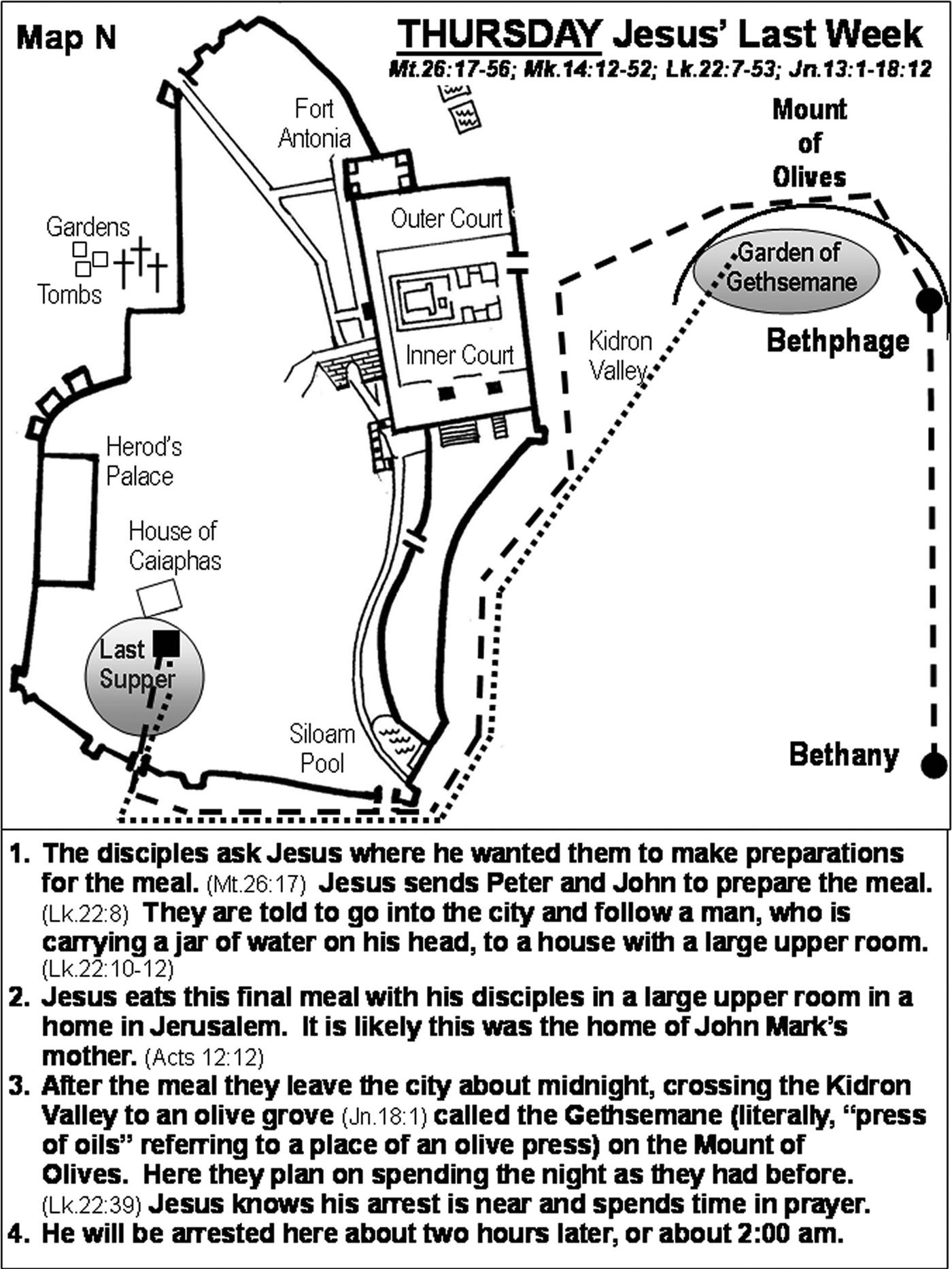 details of thursday of jesus last week