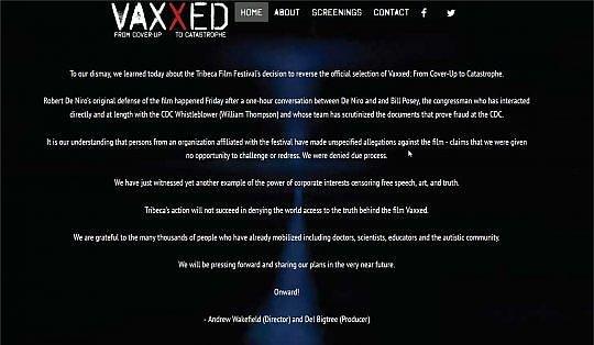 De Niro ritira film anti vaccinazioni dal Tribeca Film Festival