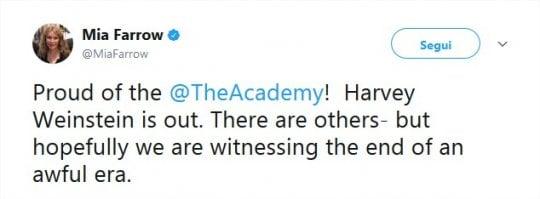 """Weinstein espulso dagli Oscar, Mia Farrow: """"È la fine di una terribile epoca"""""""