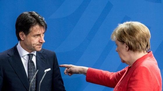 """Conte a Merkel:  """"Servono soluzioni Ue o finisce Schengen"""""""