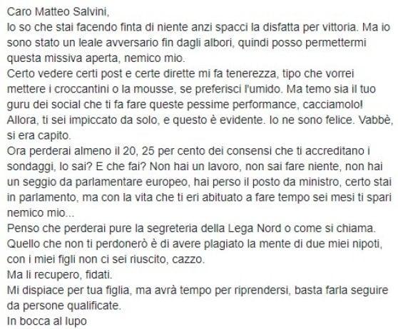 Rai, un giornalista invita Salvini su Facebook al suicidio. Viale Mazzini apre un provvedimento disciplinare
