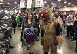My first-time cosplay! And a skullkid wearing Majora's Mask.