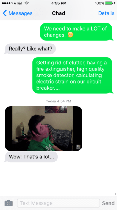 Text conversation about reptile room fire safety