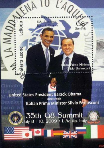 Berlusconi e Obama sul francobollo
