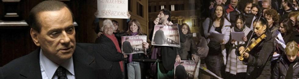 """Berlusconi al Quirinale per dimissioni: """"Buffone""""  Vuole  Letta vicepremier .  No di Bersani e Idv   Contestazioni  e festa intorno ai Palazzi    foto     video 1   -   2"""