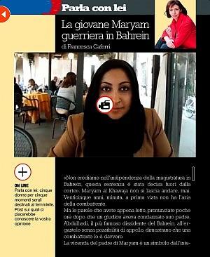 La giovane Maryam guerriera in Bahrein