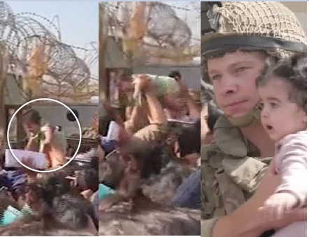 The desperate Afghan mums it was gathered were filmed throwing their babies over barbed wire fences at the Kabul airport.