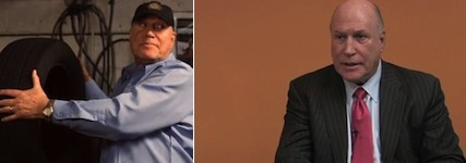 Left: Rick Berman acting as a blue collar mechanic. Right: Berman in a suit.