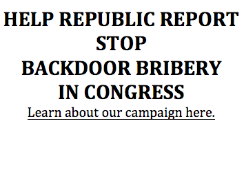 Republic Report Sends Letter To 36 Retiring Members of Congress: Stop Backdoor Bribery, Disclose Your Job Negotiations With K Street