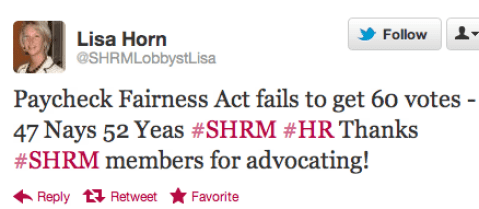 Washington Lobbyist Mobilized Against Paycheck Fairness Act, Celebrated When It Went Down