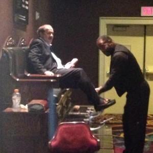 Don Blankenship receives a shoe shine at the Mandalay Bay hotel.
