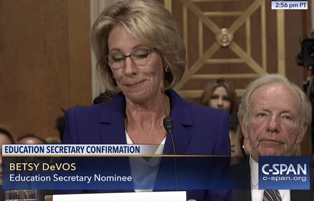 Lieberman, Introducing DeVos, Fails to Disclose That His Law Firm Represents Trump