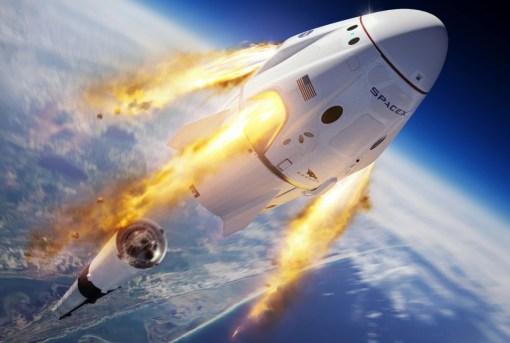 SpaceX Crew Dragon executand desprinderea de racheta purtatoare Falcon 9
