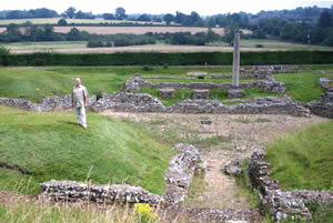 Tony Robinson standing in the Roman theatre; the field immediately behind the hedge is due to be ploughed again within months.