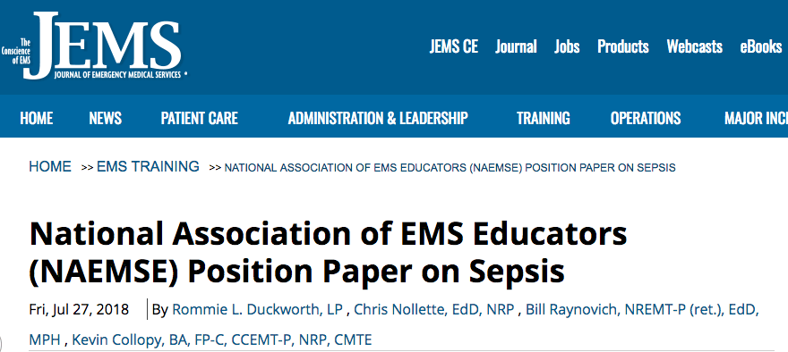 JEMS NAEMSE Position Paper Sepsis