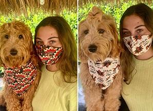 bandana y mascarilla para perro de Acción de Gracias a juego