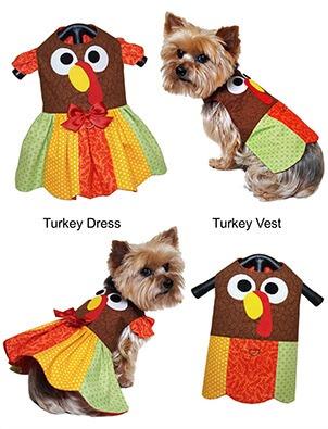 Vestido de chaleco de pavo de perro de acción de gracias