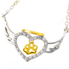 Angel halo paw necklace