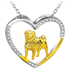 open heart pug necklace