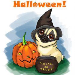 Pug Halloween Cartoon