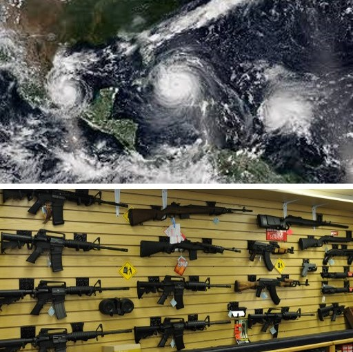 Americans Lament Inability to Talk About Mass Shootings or Hurricanes Because of Need to Mourn Extraordinarily Frequent Mass Shootings, Hurricanes