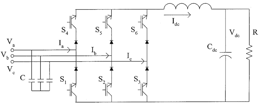 Power circuit schematic of a diode rectifier with dc-side