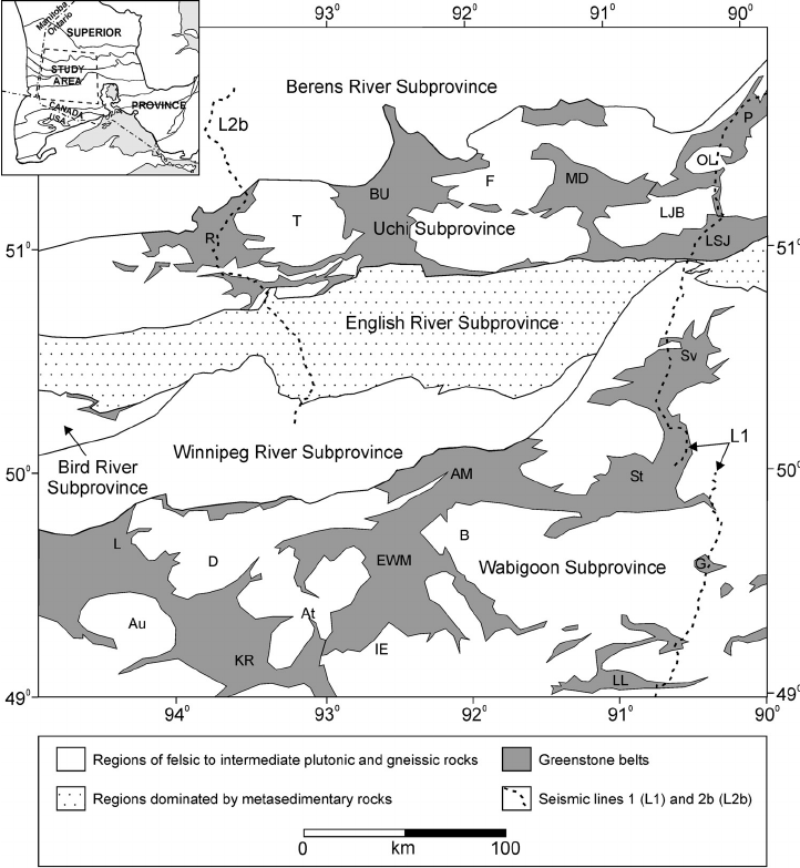 Schematic map of the Western Superior Province in the area