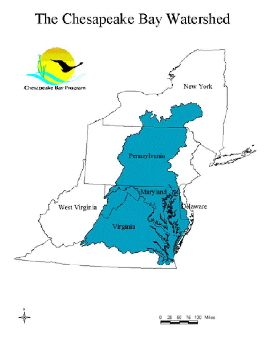 hight resolution of general map outline of chesapeake bay watershed source us epa http