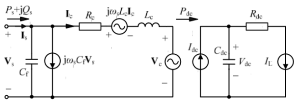 Schematic diagram and equivalent circuit of a VSC station