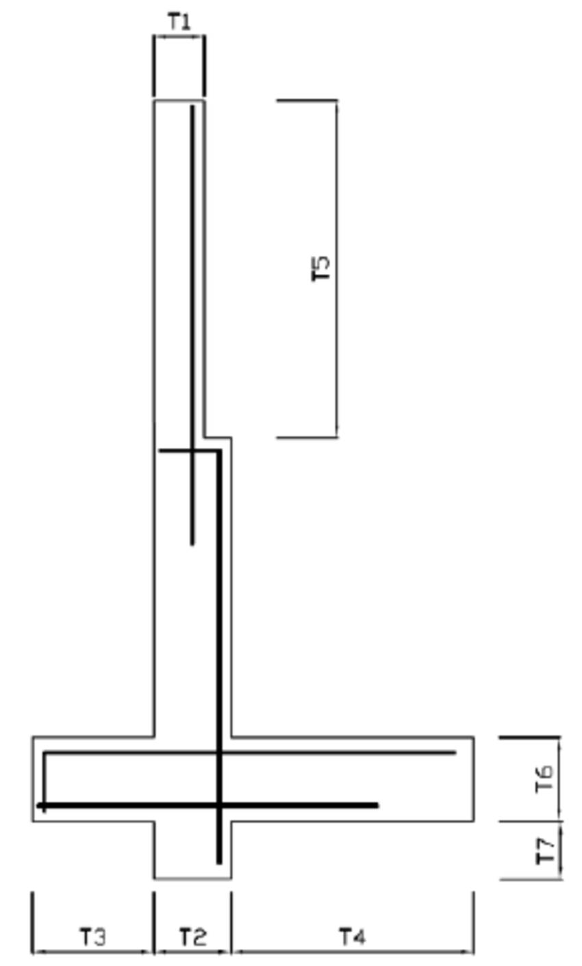 hight resolution of schematic view of the concrete retaining wall