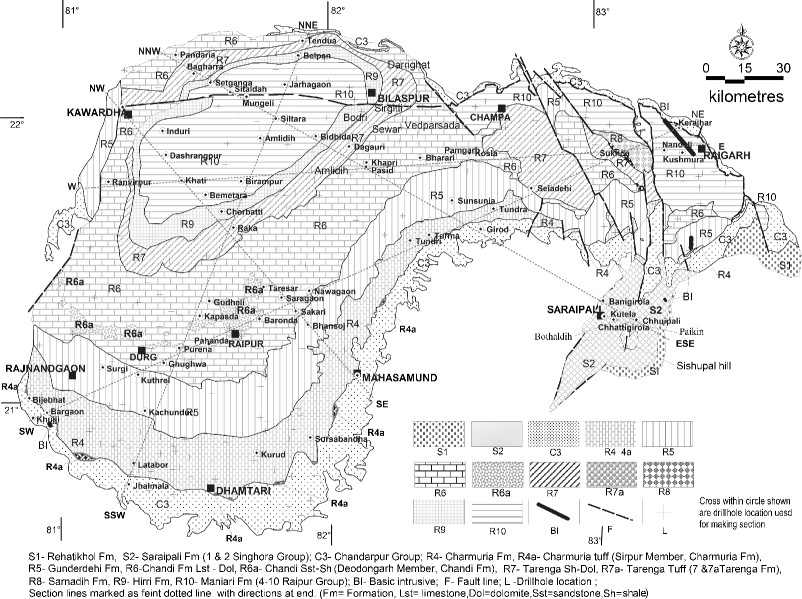 Updated geological map of the Chhattisgarh basin (this
