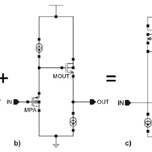 The patented unity-gain high-voltage buffer; a) simplified