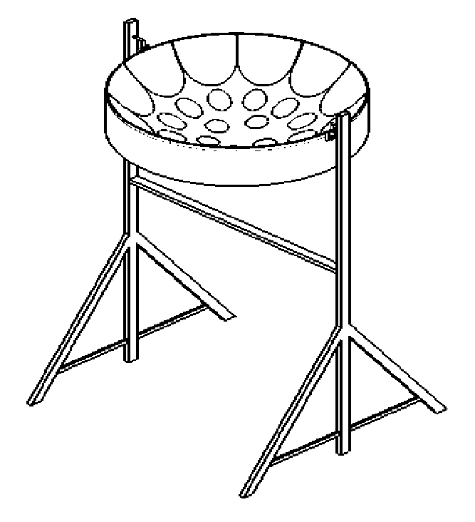 A sketch of a Steelpan mounted on a playing stand