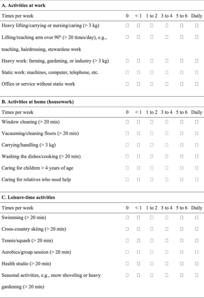Questionnaire for the recording of physical activity