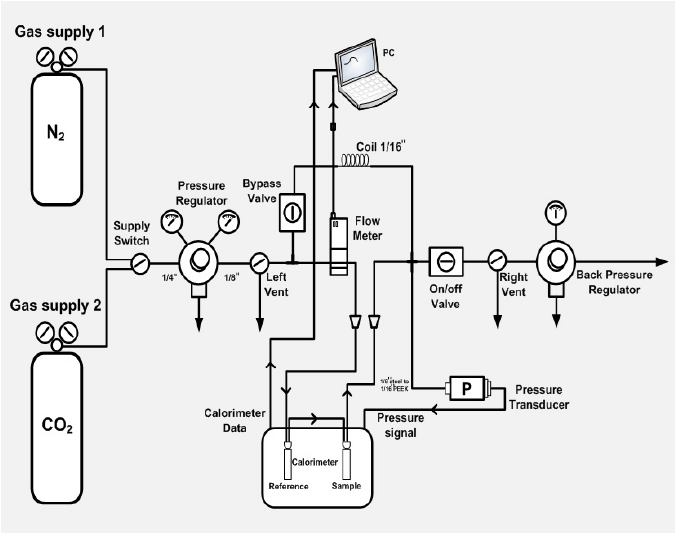 Experimental setup of the micro-reaction calorimeter for