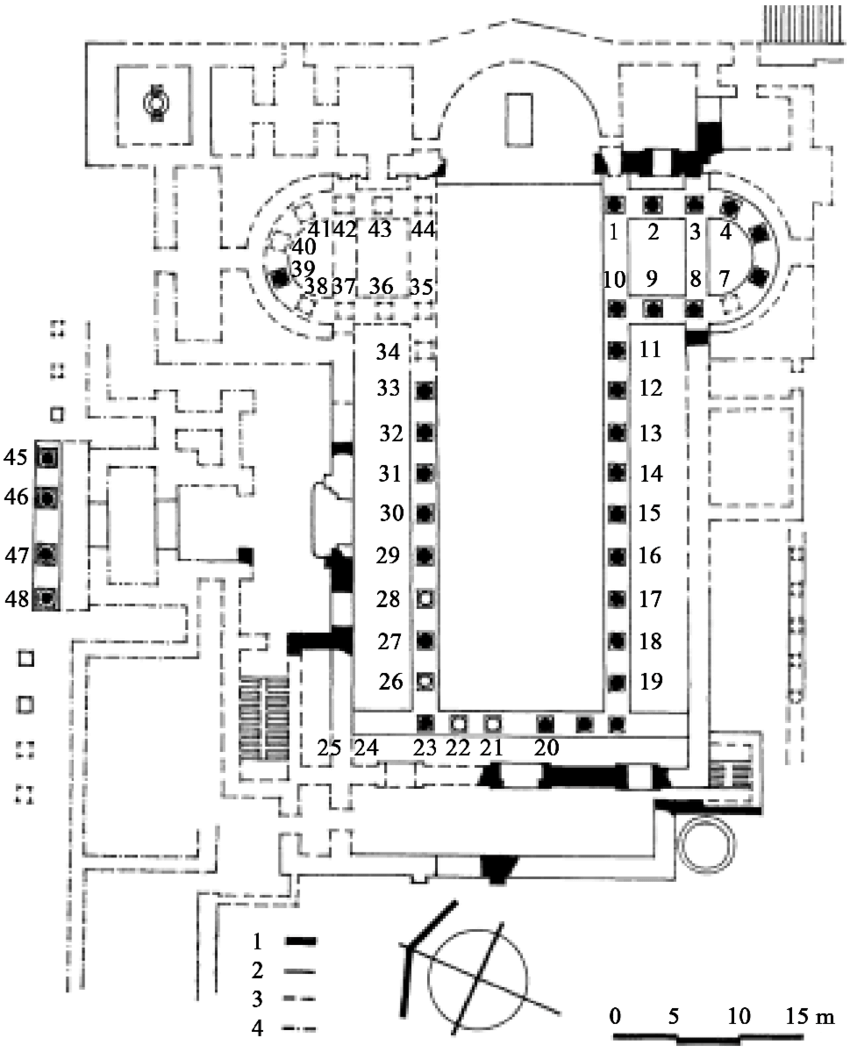 hight resolution of the plan of basilica church and distribution of columns and their numbers for schmidt hammer test