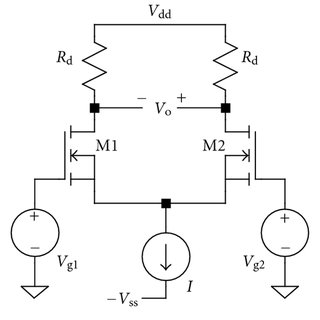 Differential pair with current source in addition to diode
