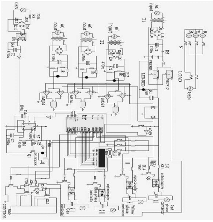 Circuit diagram of the automatic changeover switch with