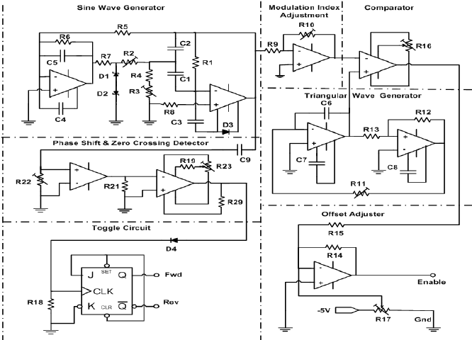 Schematic circuit diagram of the PWM wave generator and