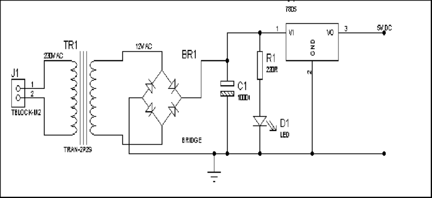 Circuit diagram of the power supply. Passive infrared