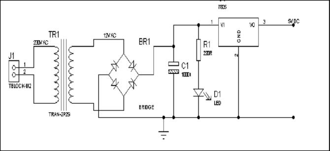 circuit diagram of the power supply passive infrared sensor