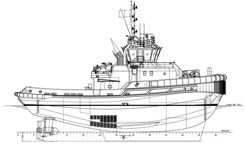 A typical profile drawing of a tugboat (Credit: Sanmar