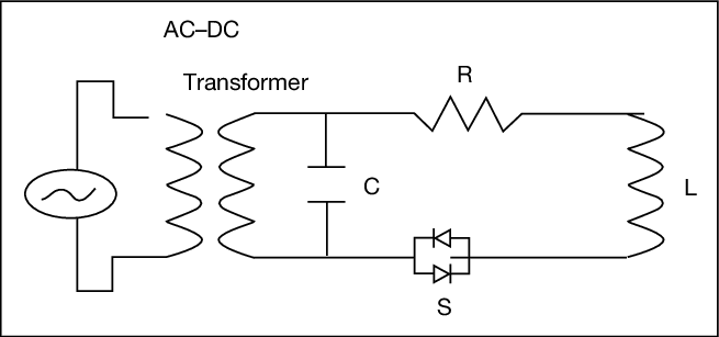 A schematic TMS circuit, including a DC-AC transformer and