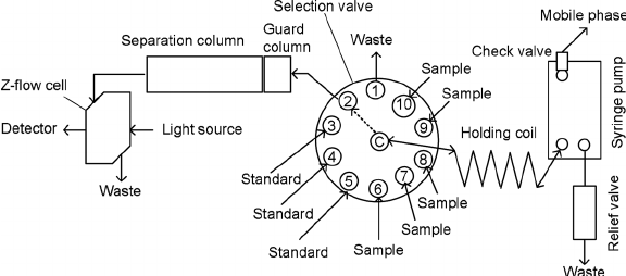 Schematic diagram of sequential injection chromatograph
