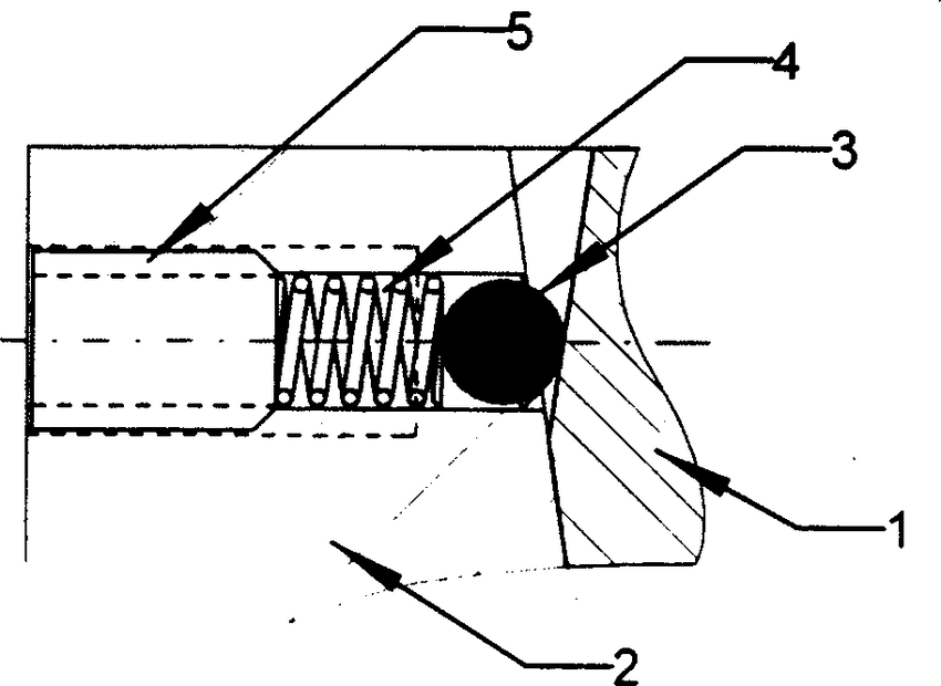 Ball-detent locking mechanism for the sample stage: 1